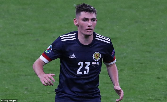 Billy Gilmour, pictured during Friday's match, has tested positive for Covid-19, the Scottish Football Association confirmed