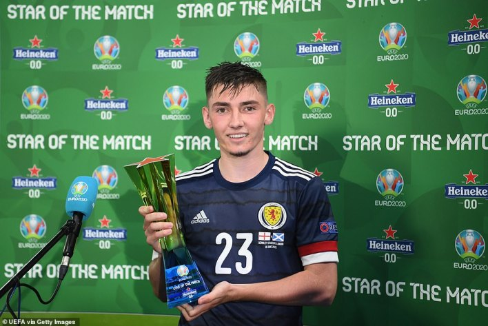 """Gilmour poses for a photograph with his Heineken """"Star of the Match"""" award after the Euro 2020 match last Friday"""
