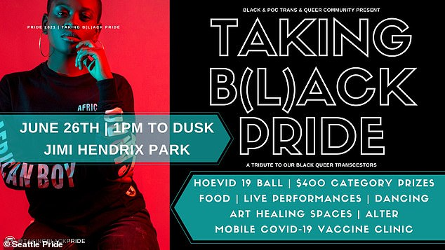 The Taking B(l)ack Pride event plans to charge white attendees between $10 and $50 'reparations' - despite being held in a publicly-funded park