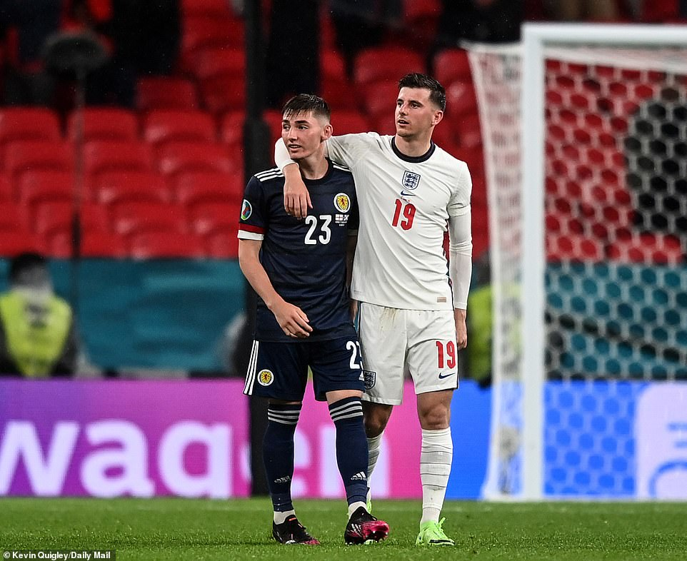 England stars Mason Mount (pictured here with Gilmour on Friday night) and Ben Chilwell have been forced to self-isolate