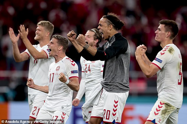 Once confirming Finland had lost, Denmark broke out into joyous celebrations on the pitch
