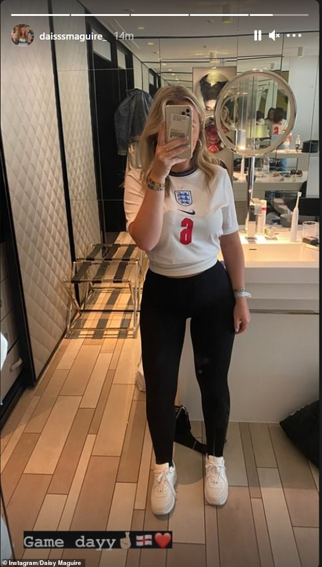 The glamorous WAGs of England's Euro stars have shown their support for their partners ahead of the squad's match today (pictured, Harry Maguire's sister Daisy posting on Instagram)