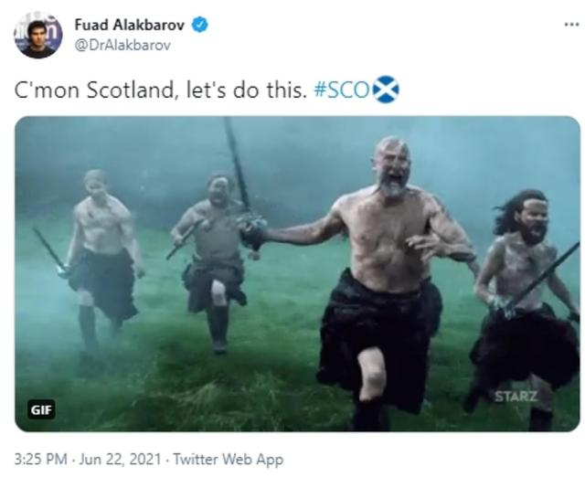 'C'mon Scotland, let's do this': Gifs of iconic film Braveheart were shared by fans egging on the Scots ahead of their Croatia clash
