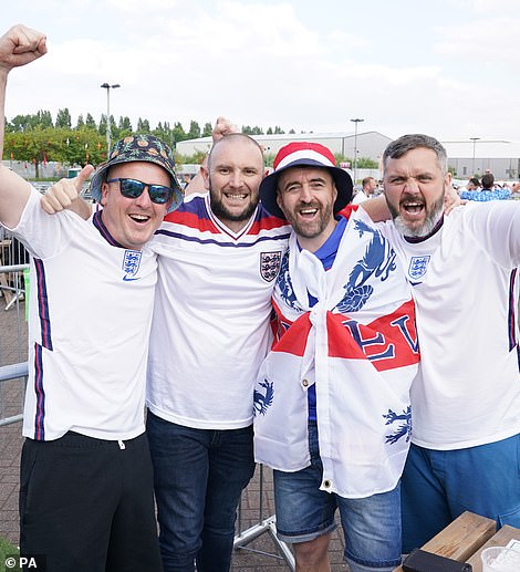 England fans have also piled into the Euro 2020 fan zone in Manchester to watch the game