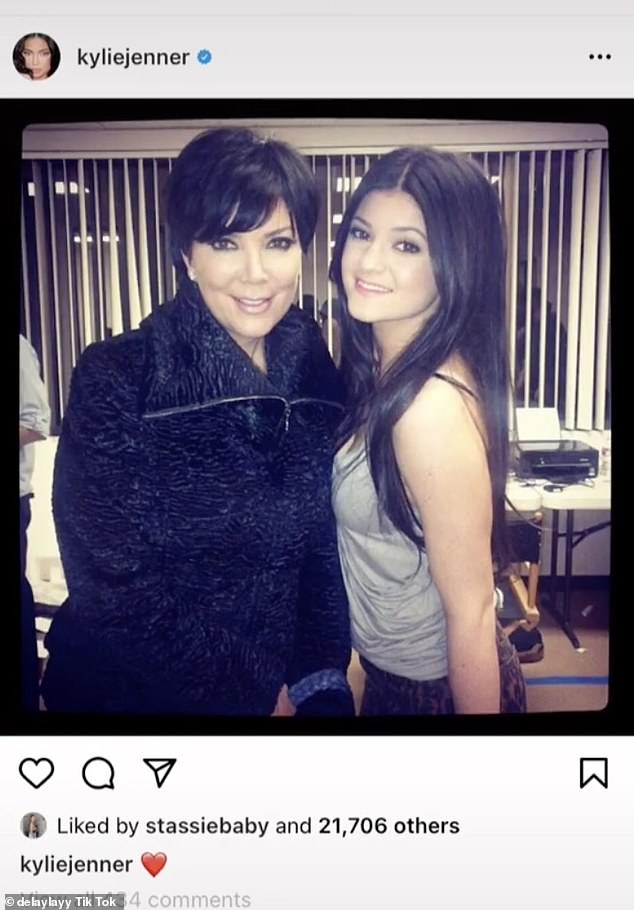 Fresh-faced: This photo shows Kylie with mom Kris Jenner in January 2012