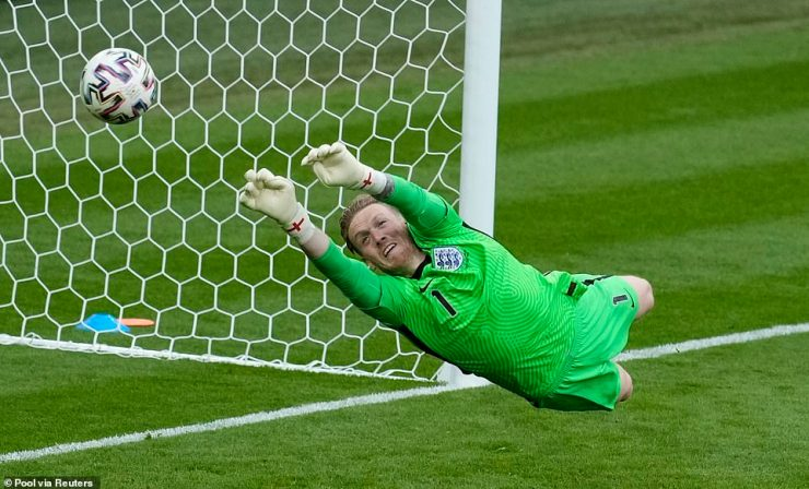 England's No 1 Jordan Pickford is forced to make a save to deny Czech Republic an equaliser during the first half