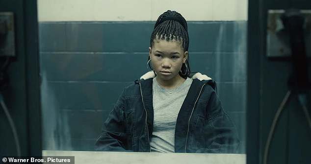 Daddy's girl:Elba has a tense standoff with Viola David in the clip over her meddling with his daughter (Storm Reid) while he is behind bars to force him on her team