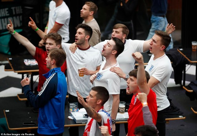 England fans sing as the Three Lions take the lead in the Euro 2020 clash against Czech Republic at Wembley Stadium