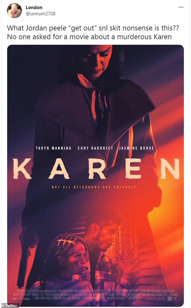 Rip-off:It didn't take long for Karen to be trending on Twitter, with fans BASHING the film from writer-director Coke Daniels, calling it a blatant rip-off of Jordan Peele's 2017 thriller Get Out