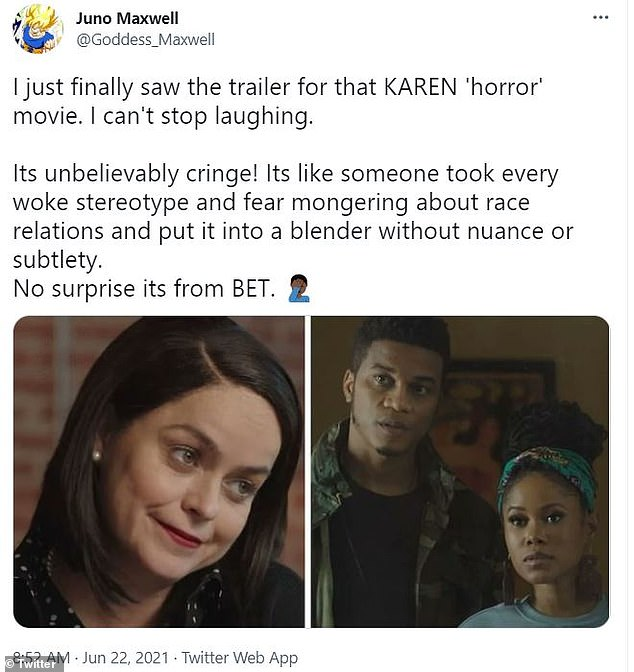No nuance:Another Twitter user, Juno Maxwell, called the trailer, 'unbelievably cringe' adding there is no 'nuance or subtlety'