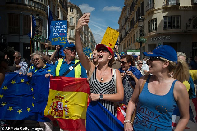 The concern among ex-pats in EU countries is not a new one, and was the subject of a protest in Malaga in 2019 (pictured)