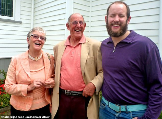 Laurel just before she transitioned at 35 years old. Pictured (right) with her parents, including former Auckland Mayor Richard 'Dick' Hubbard' (centre)