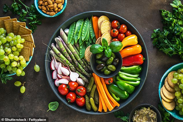 Having a fruit-based lunch, vegetables for dinner (like the platter pictured) and not snacking on starchy foods like crisps in the key to warding off cancer and heart disease, a study found