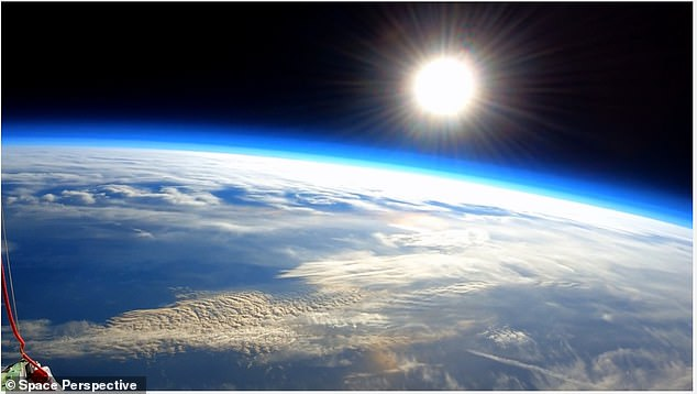 Pictured taken during Space Perspective's test flight of its giant balloon that soared 20 miles above the surface
