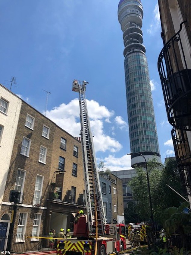 The top floor fire was tackled by over 70 firefighters who arrived at the scene in 10 engines