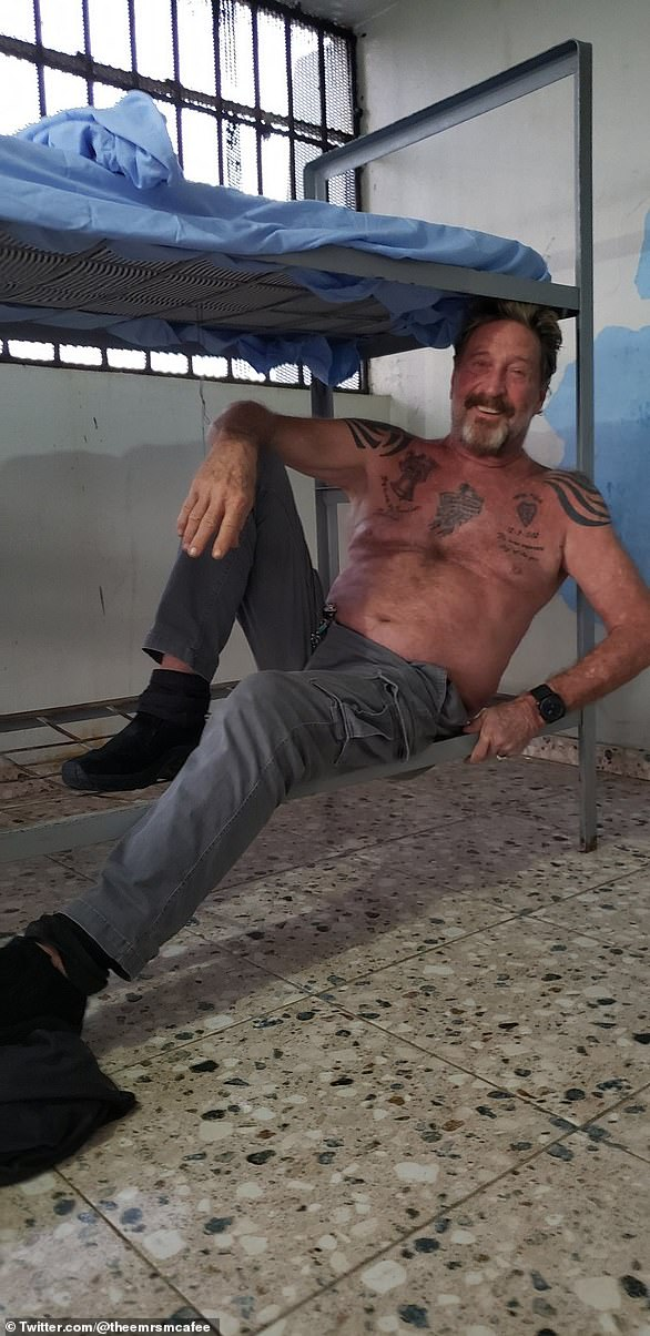 The jailhouse photos from 2019 showed McAfee smiling
