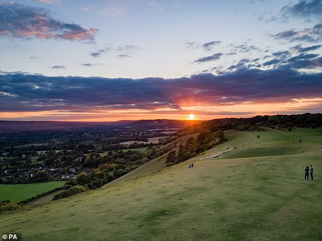 There are currently 46 AONBs – 33 wholly in England, four wholly in Wales, one that straddles the Anglo-Welsh border and eight in Northern Ireland. Pictured,Reigate Hill, Surrey Hills AONB