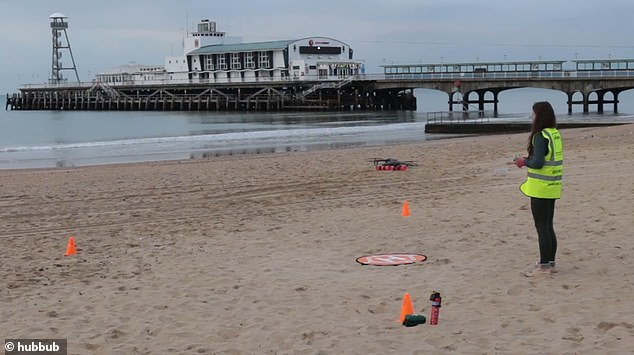 Ellipsis Earth launches a drone on Bournemouth seafront.The technology previously used in the UK in March