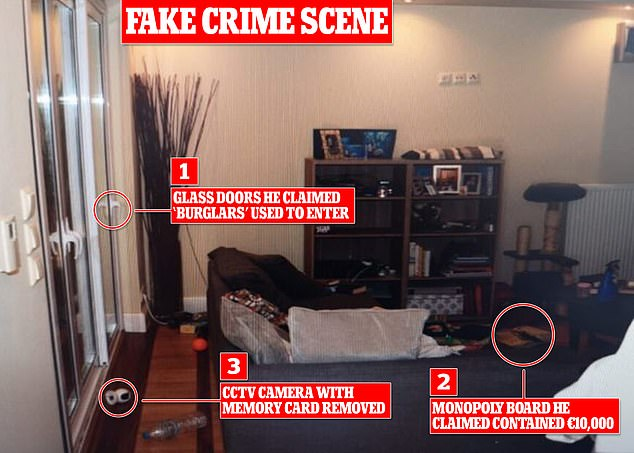 Yesterday police released pictures of the scene where the killer suffocated his wife and killed their dog