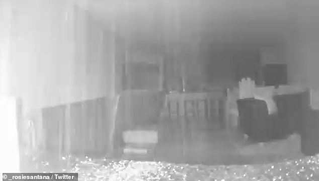 These are images from a residents security camera inside the building showing debris falling and the footage shaking before the video shuts off