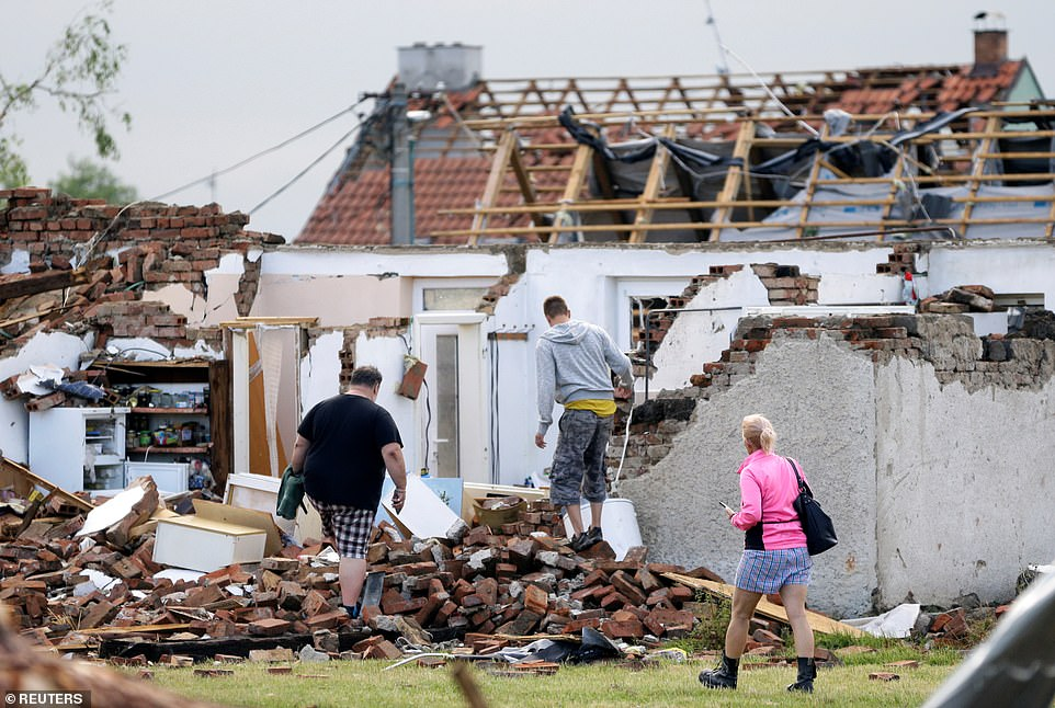 A house was reduced to rubble inMikulcice village after the tornado swept across southern parts of the Czech Republic