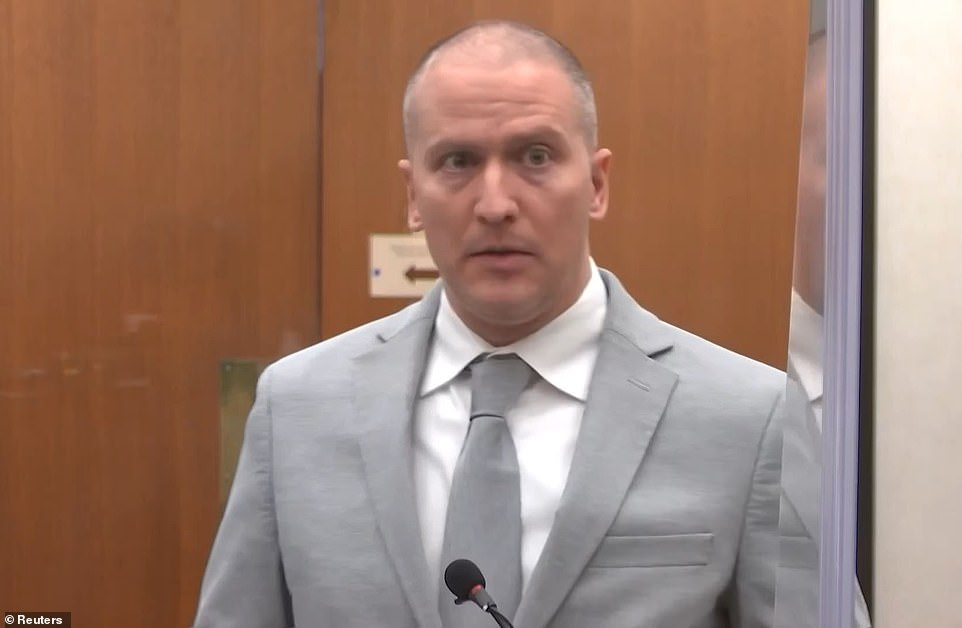 Derek Chauvin spoke briefly at his sentencing Friday to offer the Floyd family his condolences. Derek Chauvin, 45, is pictured at his sentencing dressed in a gray suit with a matching tie and buzz cut