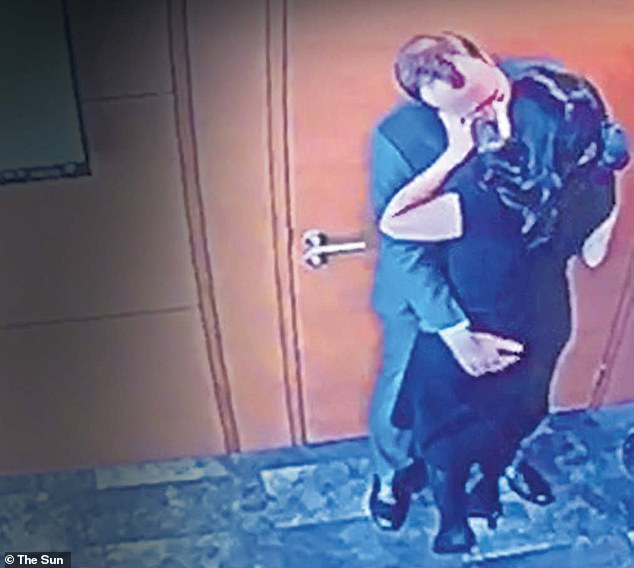 The footage of Mr Hancock kissing Gina Coladangelo was caught on a CCTV camera in his office on May 6, and secretly recorded by a member of his department's staff. Above, the pair's kiss is in clear view of the camera in the ceiling