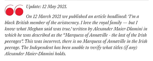 The Independent newspaper published a correction in May this year following the article