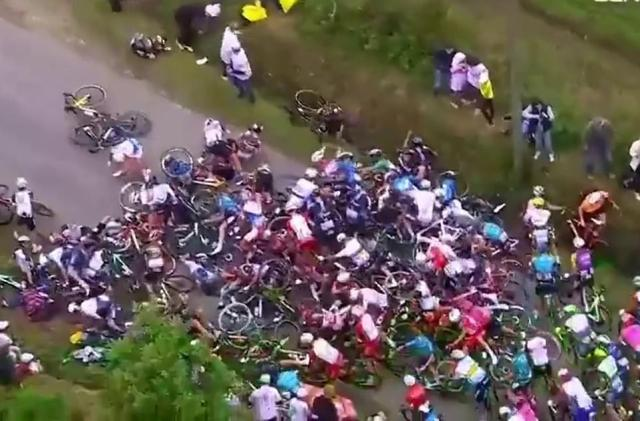 The accident caused a massive blockage and saw more than 20 riders hit the deck injured in one of the Tour's worst crashes