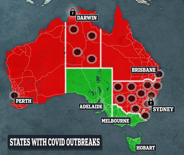 States shown in red have imposed restrictions after Covid cases were detected, the volume of which are shown by the number of virus clusters. A lock symbol indicates the capital city is in lockdown