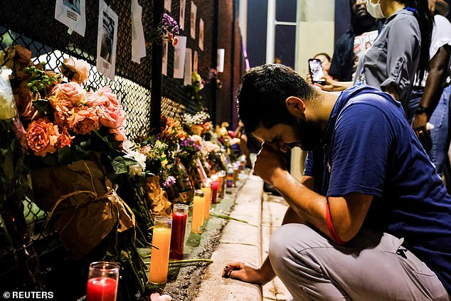 Leo Soto, who lost a friend in the disaster, was among loved-ones paying tributes at a makeshift shrine on Friday. It has continued to grow over the weekend