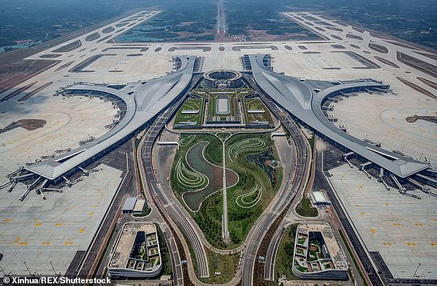 China aims to have 400 airports operating in the country by 2035, an increase of nearly 160 despite concerns over the country's huge emissions ,Pictured: the new Chengdu Tianfu International Airport