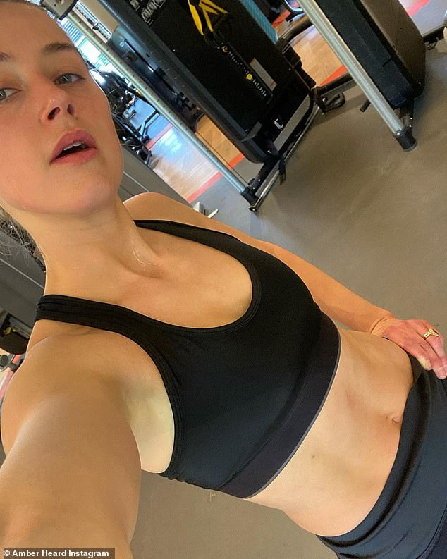 Work hard: Just a day before, the Texas-born actress took to Instagram to share two selfies after completing a grueling workout