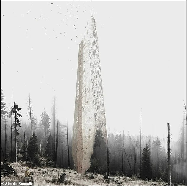 Architect Alberto Roncelli's concept for Regenera is a tower made of seeds, soil, nutrients and other biomatter that would 'feed' a fire-damaged forest as it disintegrated