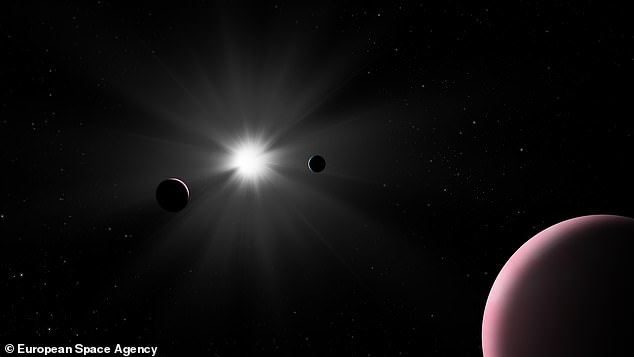 Discovery: A unique exoplanet has been found after it unexpectedly 'photobombed' its star 48 light-years away. An artist's impression of the Sun-like Nu2 Lupi and its three planets is shown