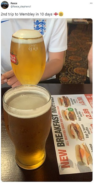 England fans heading to Wembley enjoy an early morning pint of lager