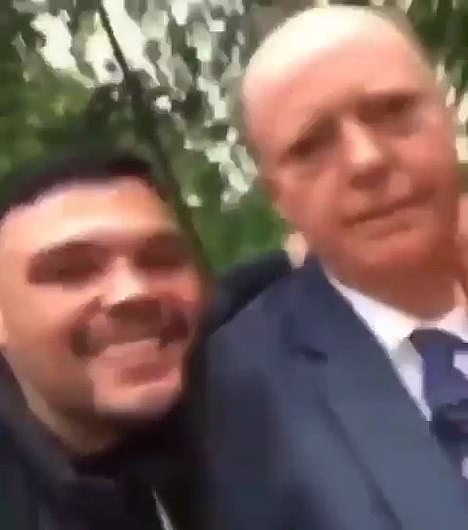 Two thugs harass Professor Chris Whitty in a London park