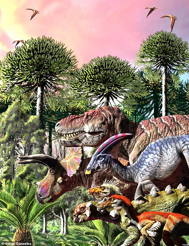 Struggling to adapt: Dinosaurs were already in decline 10 million years before they were wiped out by the impact of a mass-extinction asteroid, scientists have found