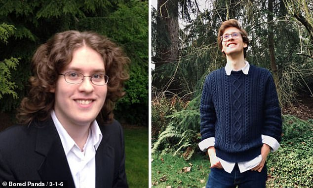 Sometimes a few years and a good haircut is all you need. This man shared how he looked at 18, left, compared to how he looked at 25, right