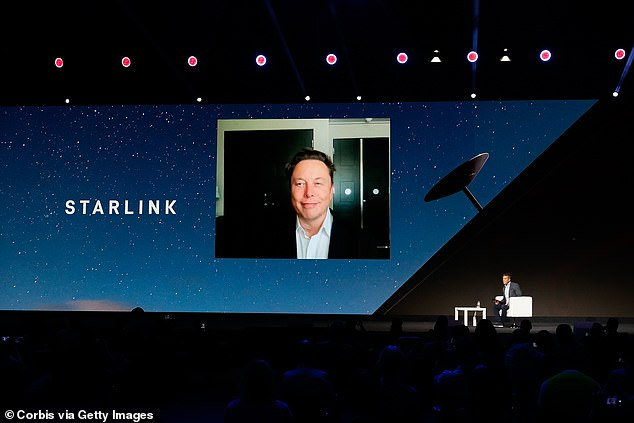 Elon Musk said Tuesday that SpaceX's Starlink satellite internet is on track to gain 'possibly over 500,000 users within 12 months.' The CEO spoke via Zoom at Mobile World Congress 2021, where he revealed updates on Stralink, which currently has 69,420 active users