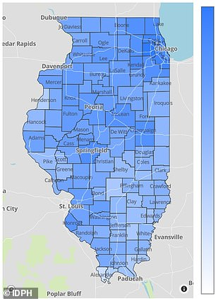 About 48 percent of Illinois residents are fully vaccinated, but rates are much lower in some counties - represented by lighter blue on this map