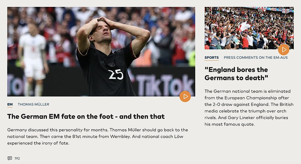 Media in Germany today lamented the 2-0 loss against England, after Gareth Southgate's squad knocked the national team out of the Euro 2020 at Wembley