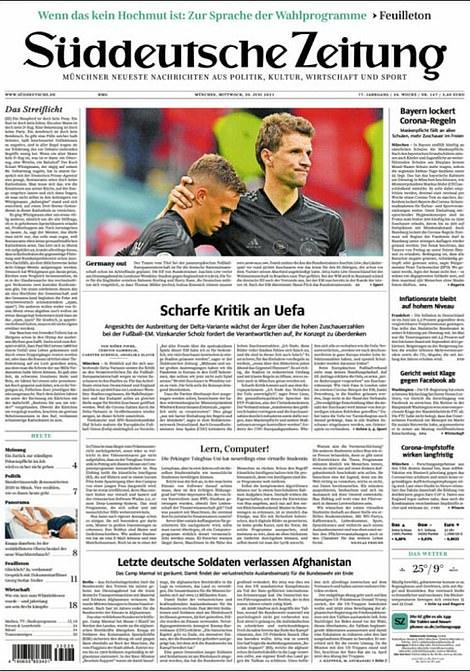 Sudduetsche Zeitung ran a photo of Thomas Muller consoling an emotional Joshua Kimmich