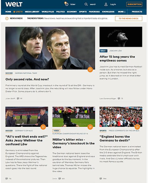Die Welt's website also displayed a picture of Löw standing next to his replacement Hansi Flick. 'Only second rate. And now?' the newspaper asked, looking to the future of Germany's national team