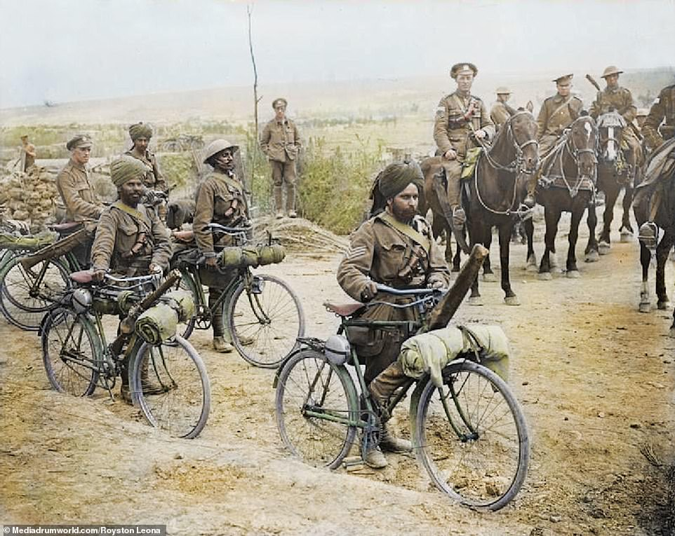 Indian bicycle troops at a crossroads on the Fricourt-Mametz Road, Somme, France. Fricourt was one of the first villages to be captured during the Somme offensive. The stronghold formed a salient in the German front-line and was their main fortified village between the River Somme and the Ancre.By the end of the first day's fighting on July 1, the village was surrounded on three sides and during the night, the German garrison withdrew. British troops went in at noon the following day to capture the village