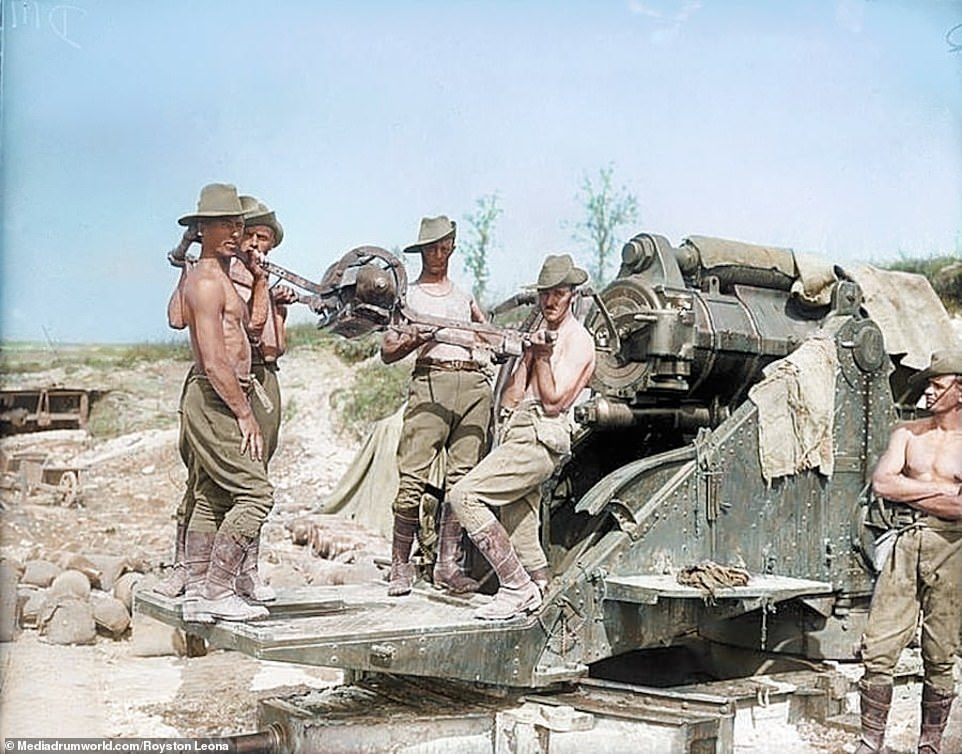 Australian gunners stripped off in the summer heat, serving a 9.2 howitzer during the Battle of Pozières which took place during the Battle of the Somme.When the survivors were relieved on July 27, an observer called E.J Rule, recounted: 'They looked like men who had been in Hell... drawn and haggard and so dazed that they appeared to be walking in a dream and their eyes looked glassy and starey.'