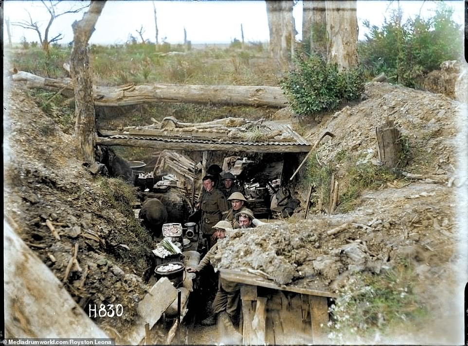Troops in the trenches along the Western Front during the Battle of the Somme.Trench warfare was harsh on all sides, with disease and cramped conditions making it particularly grim for the men. Officers were allowed some respite in dugouts, while the troops had to sleep under whatever shelter they could find, often just a blanket pulled over their heads
