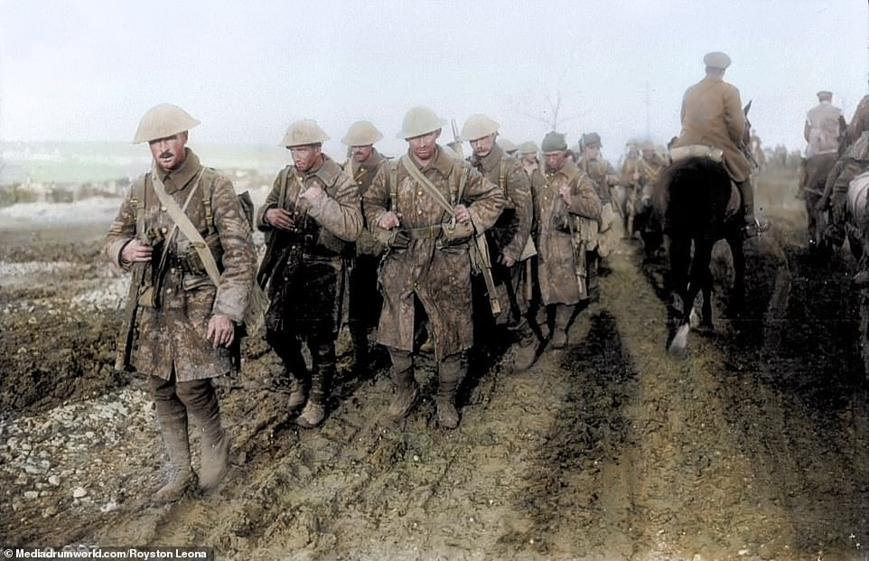 Canadian soldiers returning from trenches during the Battle of the Somme, November 1916. The Canadians suffered more than 24,000 casualties during the battle. On the first day of the battle theFirst Newfoundland Regiment were nearly completely wiped out when theypart of a third wave of troops to attack German lines at Beaumont Hamel.More than 700 of the Newfoundlanders were cut down by German machine guns, with many wounded left writhing around in No Man's Land throughout the night. By the following day, just 68 of the regiment's 801 members were able to answer at roll call
