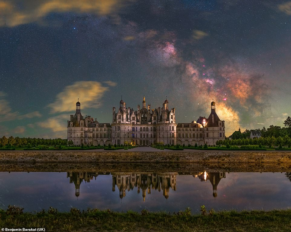 This fairy tale like image of a magnificent chateau in France is set against the backdrop of a bright, colourful night sky was taken by Benjamin Barakat