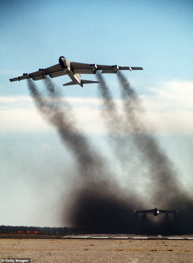 Mr Harden counted the number of times during each president's tenure that the US unilaterally threatened another great power. These incidents included, for example, 1969's 'Operation Giant Lance', in which Richard Nixon sent a squadron of B-52 bombers (as pictured) armed with nuclear warheads to patrol the glacier caps near Moscow during the Cold War